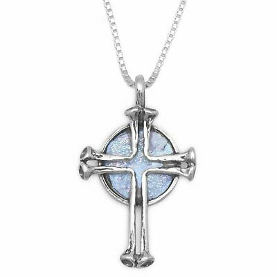"""Round Ancient Roman Glass with Cross Sterling Silver 18"""" Necklace"""