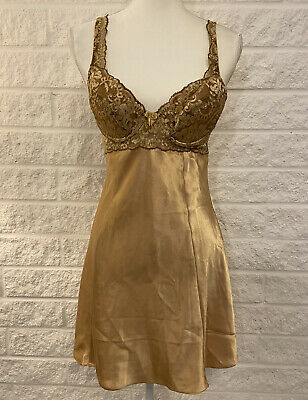 Vintage Victorias Secret Gold Padded Teddy Night Gown Lingerie Sexy Small EUC X3