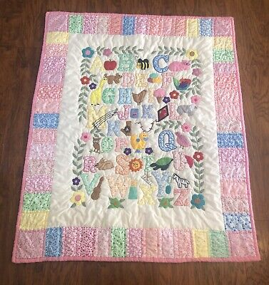Woodland Animal Floral Alphabet Baby Quilt / Wall Hanging