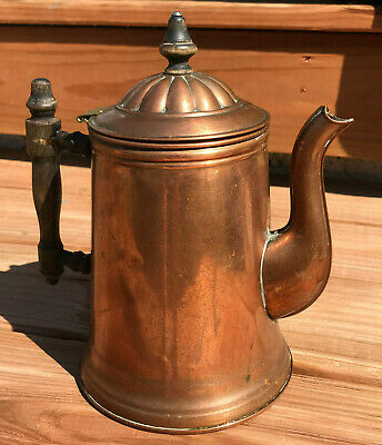Antique Patina'd Copper Coffee /Tea Pot marked Rome Copper Ware wood handle