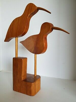 Vtg Mid Century Modern Wood Sculpture Sand Piper Nautical Beach 13.5""