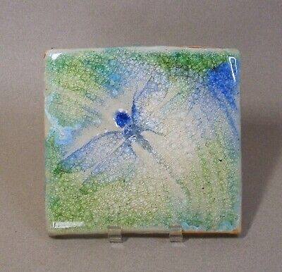 Hand Made Decorative Blue/Green Pottery Tile w/ Dragonfly