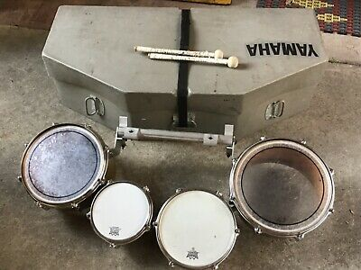 Vintage YAMAHA FIELD CORPS DRUMS SET w/ MARCHING BAND CARRIER & Custom Hard Case