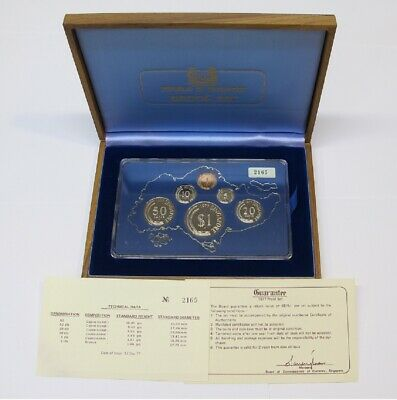 #18: 1977 Singapore Proof Year Set With Wooden Box & Coa #2165 Out Of 3,500 Sets