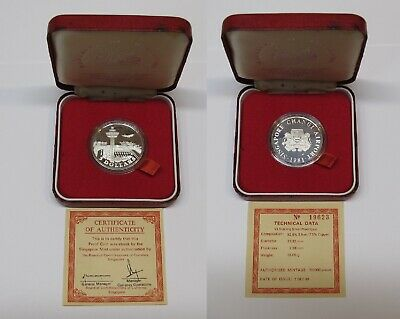 #49: 1981 Singapore $5 Changi Airport Proof Silver Coin With Box & Coa #19623