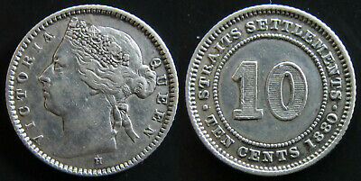 #06: 1880H Straits Settlements Malaya Singapore Qv 10 Cents .800 Silver Coin Xf