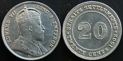 #15: 1902 Straits Settlements Malaya Singapore Kevii 20 Cents Silver Coin Vf+/Xf