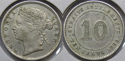 #16 1889 Straits Settlements Malaya Singapore Queen Victoria 10 Cents Coin Xf