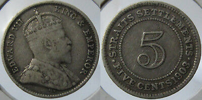 #21 1903 Straits Settlements Malaya Singapore Kevii 5 Cents Silver Coin Vf