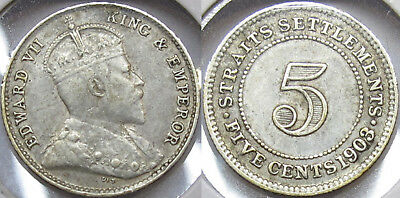 #40: 1903 Straits Settlements Malaya Singapore Kevii 5 Cents Silver Coin Xf