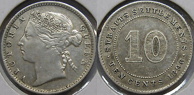#3: 1896 Straits Settlements Malaya Singapore Queen Victoria 10 Cents Coin Xf
