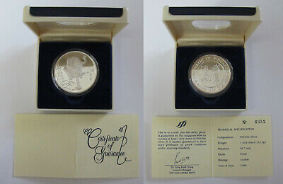 #58: 1986 Singapore Tiger 1 oz .999 Fine Silver Proof Medal with Box & COA #6352