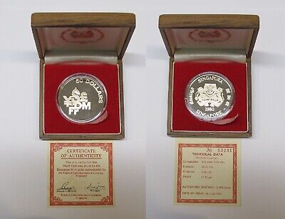 #26: 1980 Singapore Financial Centre $50 Proof Silver Coin With Orig Box & Coa