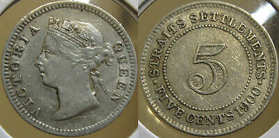 #22: 1900 Straits Settlements Malaya Singapore Queen Victoria 5 Cents Coin Xf