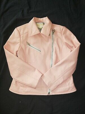 VGC Girls MICHAEL KORS Genuine Pink Faux Leather Biker Jacket Coat 4-5