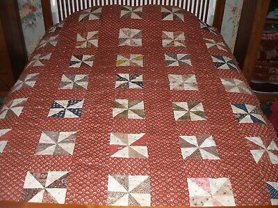 "c. 1900 Turkey Red Pinwheel Calico Comforter 78"" x 62"" Antique Primitive Fabric"