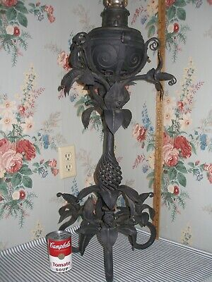 Monumental c.1890 Rochester Iron Banquet Parlor Lamp, LILIES, Victorian Antique