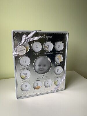 NWT Carter's My First Year Picture Frame Silver $24 Baby Gift