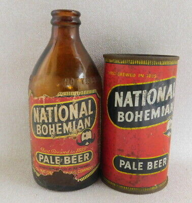 Vintage National Bohemian Pale Beer Natty Boh brown glass bottle flat top can