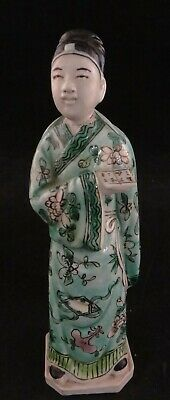 """Antique Chinese Enameled Porcelain Figure of an Official w/ documents. 6 ½"""" tall"""