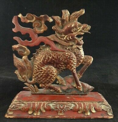 "Antique Chinese Red Lacquered & Gilt Wood Kirin. 9 ¼"" tall & wide. Qing Dyn."