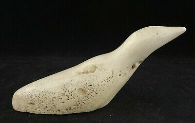 "Antique Eskimo Intuit Fossilized Carving- Sculpture of a Bird (loon?). 5 ½"" x 2"""