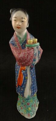 """Antique Chinese Enameled Porcelain Figure of a woman, 7"""" t.  Marked China"""