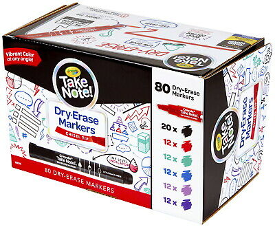 Crayola Take Note! Dry Erase Markers, Chisel Tip, Assorted, Set of 80