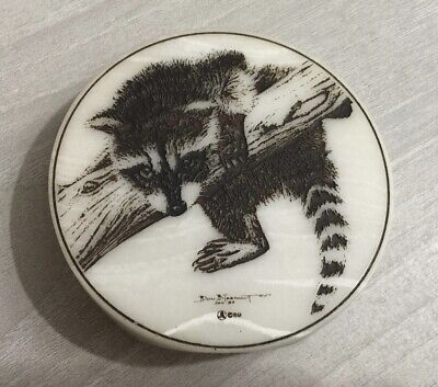 Vintage 1989 Signed Don Northcutt Etched Raccoon Faux Marble Paperweight Sign