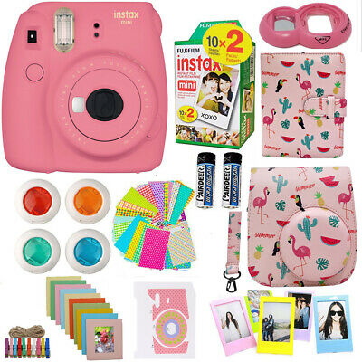 Fujifilm Instax Mini 9 Instant Camera Pink  + 20 Film + Deluxe Full Bundle