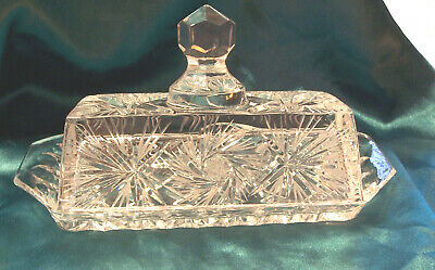 Antique Cut Crystal Glass Butter Dish w/ Lid
