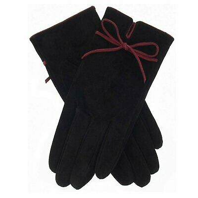 Dents Women's Jenny Contrast Bow Suede Bow Detail Gloves - Black/Berry