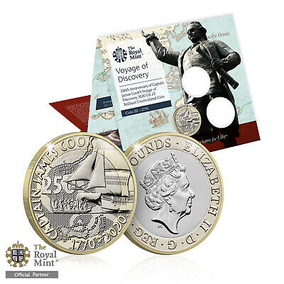 Royal Mint Captain James Cook Brand New 2020 UK Brilliant Uncirculated £2 Coin