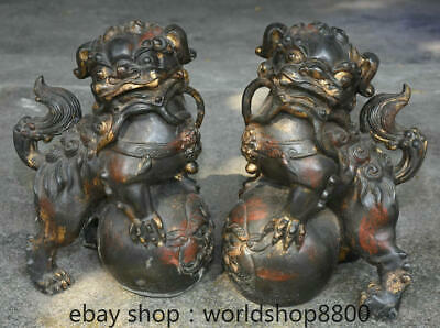 "12.4"" Old Chinese Red Copper Feng Shui Foo Dog Lion Ball Luck Sculpture Pair"