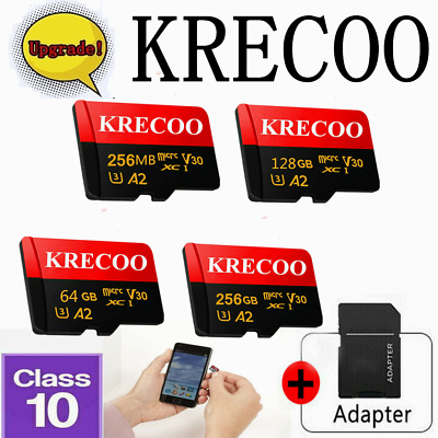 KRECOO Micro Memory Card 256GB Class10 108MB/S Fast Flash TF Card with Adapter