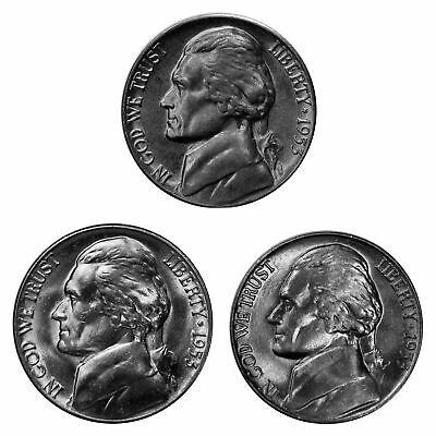 1953 P D S Jefferson Nickel Year set Choice / Gem BU US 3 Coin lot