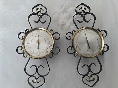 Seltenes altes Metall Wand Thermometer und Barometer Vintage