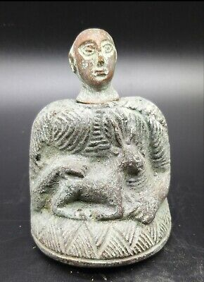 Excellent Old Bactrain Womderfull Bronze Male Idol Whit Head