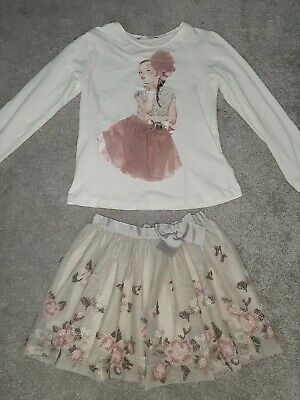 mayoral girls outfit. skirt and top age 4-7. girls designer clothing