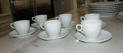 Royal Copenhagen White Fluted Lace Small Cups & Saucers Set Of Six (6) 072 & 073