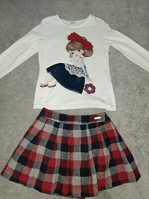 Mayoral girls outfit. skirt and top age 6-7 years. girls designer clothing