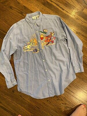 Disney Store Womens Winnie The Pooh  Embroidered Chambray Shirt Size Large