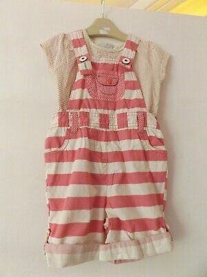 Next girls lovely summer outfit / set short dungarees and top aged 2-3 Years