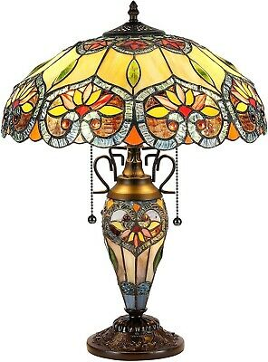 Tiffany Style Victorian Table Lamp Green Brown Blue Stained Glass Lighted Base