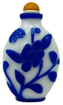 Antique Chinese Qing Carved Peking Glass Blue & White Snuff Bottle Amber Stopper