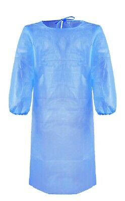 Disposable Surgical Gowns Medical Protective Clothing w/ Elastic Band 5 Count