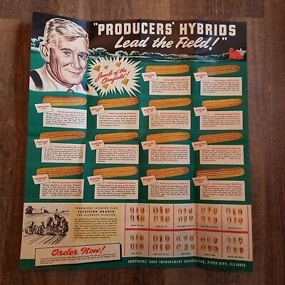 Vtg PRODUCERS' HYBRIDS Seed Corn Advertising Brochure Effingham, Piper City IL