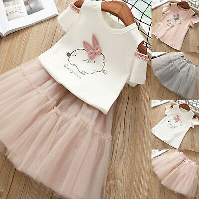 Toddler Kids Baby Girls Bunny Print Tops T-shirt Tutu Skirts Dress Outfits 1-6Y