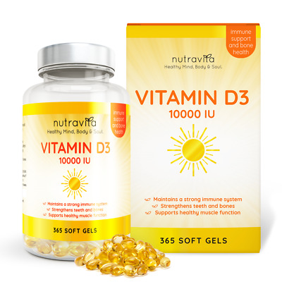 Vitamin D3 10,000iu (250µg) 365 Softgels extra strength