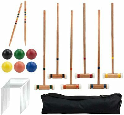 Six-Player Deluxe Croquet Set with Wooden Mallets Colored Balls Sturdy Carry Bag